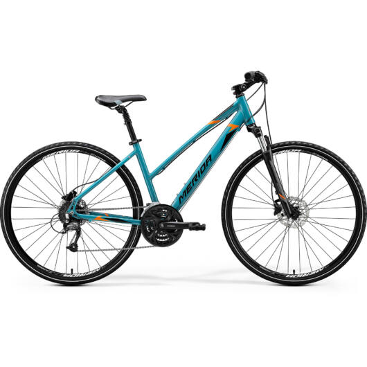"""41265-20 Merida crossway 40 28"""" női cross trekking kerékpár 2020 kékeszöld(fekete/narancs)"""